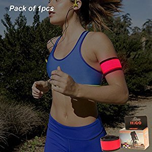Higo LED Slap Armband Light up Slap Wrap Bracelets Glowing Snap Wrist Bands for Running with Color Box Package, 100% Quality Guarantee (Red)