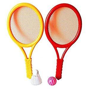 Lanlan Plastic Rackets Set Tennis Racquets Battledores with Tennis and Badminton Children Sports Toy Random Color