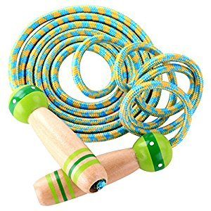 MyLifeUNIT Wooden Handle Jump Rope, Adjustable Skipping Rope for Boys Girls Kids Fitness Exercise