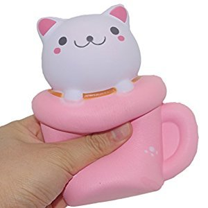 Hottest Squishy Jumbo Colossal Coffee Pink Cup Cat Scented Bread Squeeze Kids Toy Gift