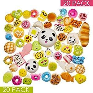 Squishy Toys – Squishies Jumbo Slow Rising – Variety of 20 Squishy Package – Panda Squishy, Food Squishies, Squishy Cat - Phone Charms Key Chain Strap Squishys