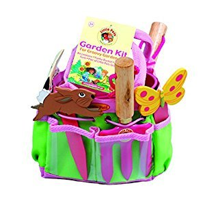Tierra Garden 7-LP380 Little Pals Kids Garden Kit with Hand Trowel, Fork, Gloves, Plant Markers & Bucket, Pink