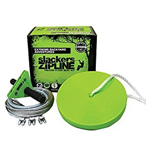 Slackers 40-Feet Zipline Falcon Series Kit with Seat, Yellow