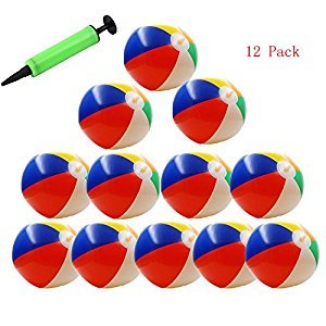 BeTwo 12 Pack Inflatable Beach Balls 10