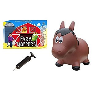 Farm Hoppers Inflatable Bouncing Brown Horse with Pump Ride-On