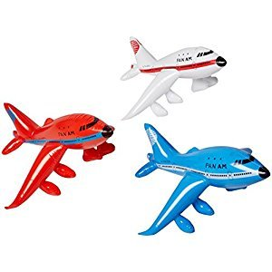 Set of 3 Inflatable AIRPLANES/Jet/747/INFLATES/Birthday PARTY DECORATIONS Favors/Decor/24 NEW in Package PLANE by RINCO