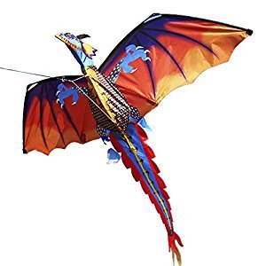 Lixada Dragon Kite 140cm x 120cm / 55 x 47 Inch Single Line Flying Kite with Tail 100m Flying Line for Kids Adults