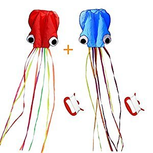 Octopus Kite, 2 Pack, Long Tail Beautiful Easy Flyer Kite, Beach Kite, Good Toys for Kids and Adults (Red/Blue)