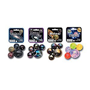 Mega Marbles Outer Space Themed Set with Galaxy, Milky Way, Meteor and Star Dust (4-Pack) - Each Net Includes 24 Players and 1 Shooter