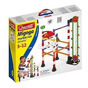 Quercetti Migoga Marble Run with Elevator, 150 Piece Building Set with Spirals, Funnel & Hand Crank
