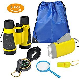 6Pcs Binoculars Set for Kids - Children Binocular, Hand Crank Flashlight, Compass, Magnifying Glass, Whistle, and Drawstring Backpack, Exploration Toy Kit for Camping and Hiking(yellow)