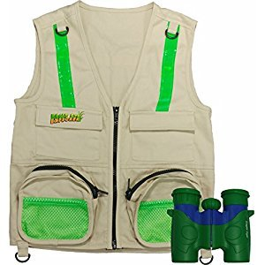 Combination Set: Eagle Eye Explorer Cargo Vest for kids with Reflective Safety Straps and 6x21 Magnification Binoculars with Soft Rubber Eye Piece for Child Protection, Waterproof and Shock-Resistant. Great gift for hiking, hunting bird watching, birthday