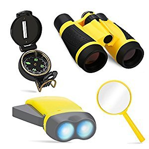 Educational Toys for Kids, 4pcs Outdoor Nature Exploration Toy Set Adventure Tools for Kids, 4x30mm Binoculars, Lensatic Compass, LED Flashlight, Magnifying Glass
