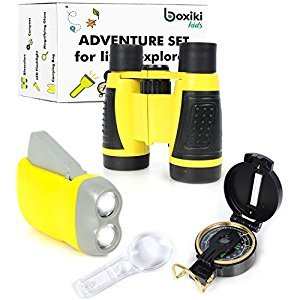Nature Exploration Adventure Toys | 5 PC Outdoor Adventure Set | Compass, Magnifying Glass, Flashlight, Backpack & Binoculars For Kids | Educational Outdoor Toys for Boys & Girls by Boxiki Kids