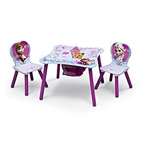 Delta Children Frozen Table and Chair Set with Storage, Pink