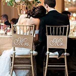 EQLEF® Lace Burlap Bows Mr. & Mrs Burlap Chair Banner Set Chair Sign Garland Rustic Wedding Party Decoration