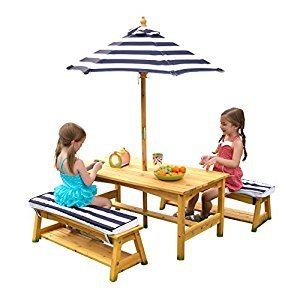 KidKraft 106 Kids Outdoor table and Chair Set with Cushions and Navy Stripes