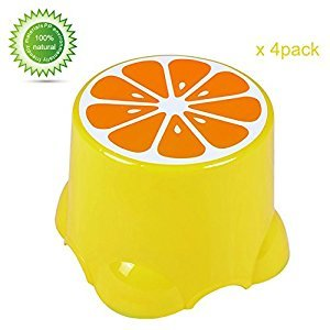 SortWise ® 1 Set of 4 Plastic Preshool Stack Chair Children's Kid Kids' Learning Stool For Playing Room Or Outdoor Activities, Colorful Fruit - Lemon (10.38
