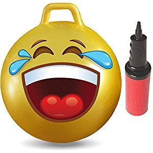 WALIKI TOYS Hopper Ball For Kids Ages 3-6 (Hippity Hop Ball, Hopping Ball, Bouncy Ball With Handles, Sit & Bounce, Kangaroo Bouncer, Jumping Ball, 18 Inches, Emoji, Pump Included)