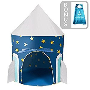 Children Play Tent - Space Rocket Castle Kids Playhouse by Wonder Space, Comes with Free Space Adventure Kids Cape and Storable Carrying Case, Ideal for Indoor & Outdoor Use, Best Gift for Boys and Girls (Blue)
