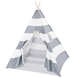 DalosDream Indoor Outdoor Grey Striped Canvas Indian Kids Teepee Playhouse with Window and Bottom