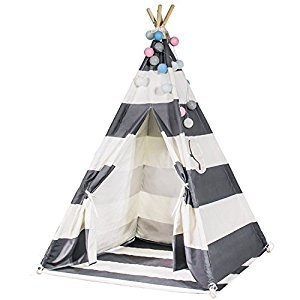 Durable Teepee for Kids, FoFxly Indian Play Tent, Stable Tipi, the Safest Children's Playhouse with Window / Floor, High Quality Wooden Poles & Sturdy Cotton Canvas & Nylon Strap & Non-Slip End Cover (Grey Stripe)