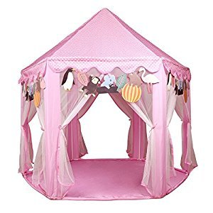 Kids Pink Princess Castle Playhouse-UTH TENT Play Tent For Girls Indoor Outdoor