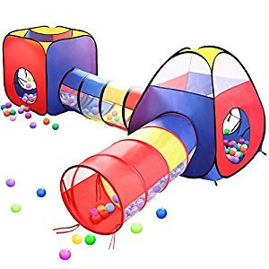 Play Tents Ball Pits, EocuSun 4 in 1 Pop Up Children Play Tent Kids House with 2 Tents & 2 Tunnel for Kids, Girls, Boys for Indoor and Outdoor Playhouse with Zipper Storage Bag