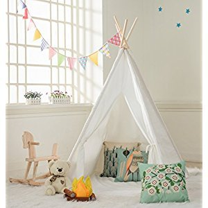 DalosDream Giant Canvas One Window Indian Teepee Playhouse for Kids