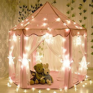 Kids Indoor Princess Castle Play Tents,aPerfectLife Outdoor Portable Large Playhouse with LED Star Lights,Perfect Indoor Toys Gift for Child Toddlers(Pink)
