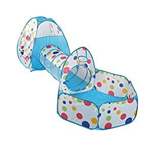 TRUEDAYS 3 in 1 Portable Pop up Kids Play Tent with Tunnel and Ball Pit Indoor and Outdoor Play House Colorful Polka Dot with Zippered Storage Bag,Blue
