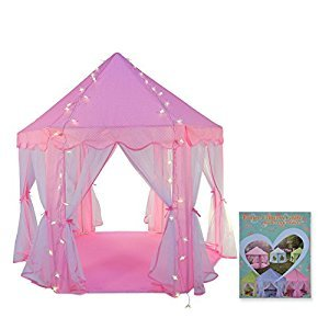TRUEDAYS Girls Princess Castle Play Tent Large Playhouse Indoor Outdoor for Kids, Balls Not Included