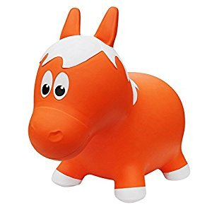 Farm Hoppers Inflatable Bouncing Orange Horse with Pump