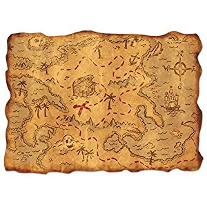 Beistle 55305 Plastic Treasure Map, 12-Inch by 18-Inch