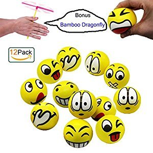 Funny Emoji Face Squeeze Stress Balls, Stress Relief Emotional Toy Ball Party Favors, 12 Pack, Random Emotion