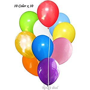 King's deal- Tm 100(10color x 10) Latex Balloons - 11 Inch - Assorted Colors