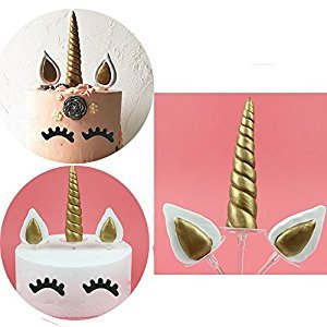 (set of 5) Handmade Gold Unicorn Birthday Cake Topper. Unicorn Horn, Ears and Eyelash Set. Unicorn Party Decoration for baby shower,wedding and birthday party
