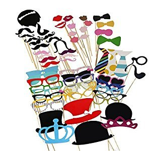 TinkSky 60pcs DIY Funny Photo Booth Props Kit Favor Including Mustaches Glasses Bows Hats Lips Ties Crowns for Party, Wedding, Birthday Favor, Graduation