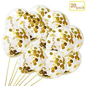 20 Pack Gold Confetti Balloons,12 Inches Transparent Double-Edged Golden Confetti Dots Balloons For Holiday Party/Wedding Decorations And Proposal