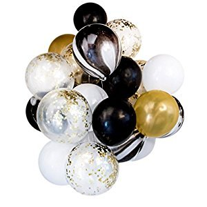 Gold Confetti Marble and Black Latex Balloon Set by Smiling Wolf, 20 pack, 12 inch, Baby Shower Birthday Wedding Party Decoration Photo booth