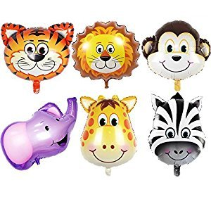 JUNGLE ANIMALS BALLOONS - 6pcs 22 Inch Giant Animal Balloon Kit For Birthday party decorations