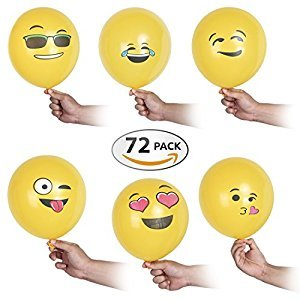 Premium Emoji Party Balloons - 30 cm – 72 Pack Party Decorations – Ideal Wall & Room Décor Supplies - Fun & Funny Décor For Birthday Parties, Wedding Receptions & Pool Parties