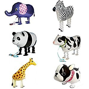 Signstek 6pcs Walking Animal Balloons Helium Balloons Birthday Party Decor Children Kids Gift