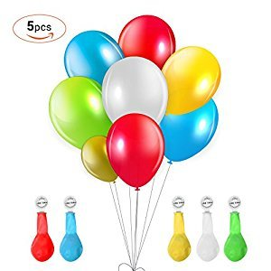Vsllcau LED light up Balloons for Christmas Halloween Party Birthdays Wedding Decorations Romantic Lights Balloons Last 8-24Hours Flashing,5 Packs Mixed Colors