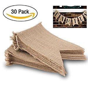 30 Flags DIY Burlap Banner kit, DIY Wedding Banner, DIY Burlap Bunting