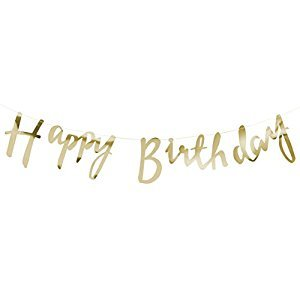 Ginger Ray PM-910 Pick And Mix Designer Happy Birthday Bunting Banner Decoration, Gold