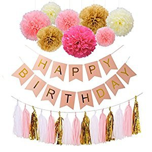 Happy Birthday Bunting Banners, Emango Golden Garlands Pack with 15 Gold Tassels and 8 Tissue Paper Pom Poms Flowerfor Happy Birthday Decorations (Pink)