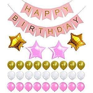 Perfect Happy Birthday Decoration Set, Reusable Banner, Latex & Mylar Star Balloons, Gold, Pink & White Theme, Great Party Supplies for Princess, First, 2nd, 3rd, 5th, 7th, Girl, Boy or any Party