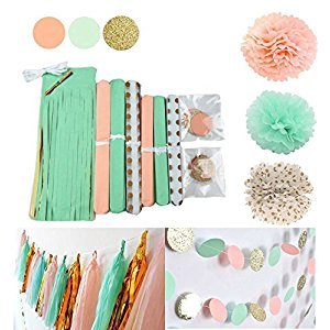 Qian's Party Mint Peach Glitter Gold Tissue Paper Pom Pom Gold Tissue Pom Pom Paper Tassel Polka Dot Paper Garland for Baby Shower Decoration Wedding Nursery Bridal Shower Decorations
