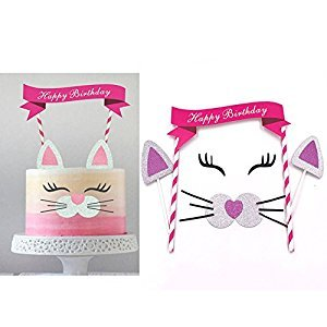 Cute Cat Birthday Cake Topper.Animal Party Decoration for baby shower,wedding and birthday party